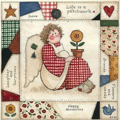 Life is a patchwork Arte Country, Pintura Country, Tole Painting, Painting On Wood, Meninos Country, Save Water Poster Drawing, Evans Art, Teddy Bear Pictures, Spring Painting
