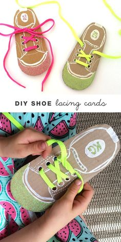 Help kids learn to tie their shoe laces by making your own DIY shoe lacing cards(Pour Enfant) Toddler Learning, Preschool Learning, Teaching Kids, Montessori Activities, Preschool Activities, Montessori Materials, Cutting Activities, Gross Motor Activities, Fine Motor Skills