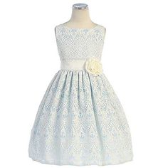 Sweet Kids Girls 10 Blue Vintage Lace Overlay Easter Dress http://www.easterdepot.com/sweet-kids-girls-10-blue-vintage-lace-overlay-easter-dress/ #easter A darling dress for your toddler or little girl by Sweet Kids. This sleeveless dress is perfect for Easter with its sweet vintage lace overlay. Slight gather at the waist featuring a ribbon sash with floral accent. Fully lined. Comes in your choice of light blue, off white or peach with the white lace overlay. Sweet Kids Sweet Kids..