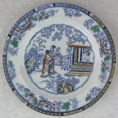 Antique H & C Decorative Chinese Pattern Asian Scene Flow Blue Plate