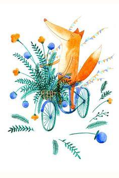 andando en bici. amo a los zorros