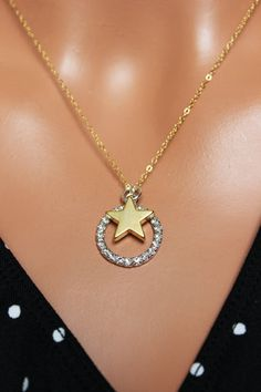 Gold Star Charm Pendant Circle and Star by AuroraJewelryBox