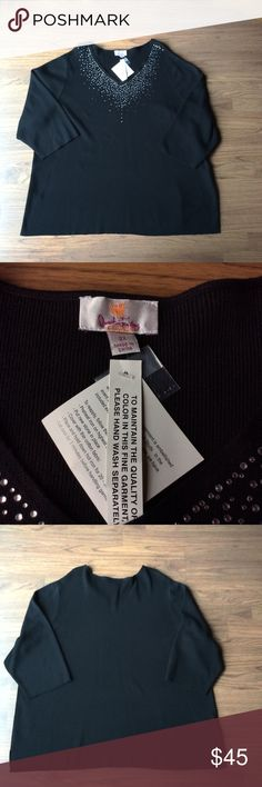 "Quaker Factory rhinestone sweater size 2X black Brand new with tags Quaker Factory sweaters top. Has rhinestone detail at neckline. Size 2X. Measurements when laying flat: bust 27"" length 29"", sleeve length 19"". 3/4 sleeve length. Quacker Factory Sweaters V-Necks"