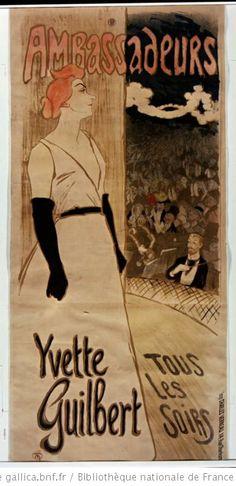 Art Print: Ambassadeurs - Yvette Guilbert Tous les soirs by Theophile-Alexandre Steinlen : Vintage French Posters, French Vintage, Poster Vintage, Vintage Art, Henri De Toulouse Lautrec, Tropical Art, Cool Posters, French Art, Art Nouveau