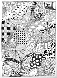 christmas zentangle | Owl and Butterflies in Zentangle | Black Flower Creative