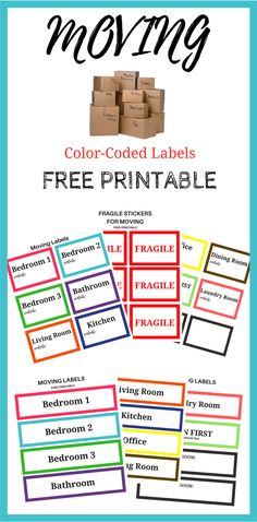 Moving soon? Print these Free color-coded labels to help you organize your move. FREE C College Packing Tips, Packing To Move, Moving House Tips, Moving Tips, Moving Hacks, Moving Supplies, Packing Supplies, Moving Organisation, Office Organization