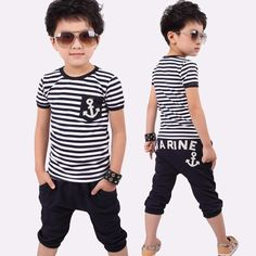 7.03$  Buy here - http://alii30.shopchina.info/go.php?t=32652099085 - Summer Kids Clothes Navy Short Sleeve Pullover Striped Sports Suit Hot Sale New 2017 Casual Boys Clothing set  #aliexpress