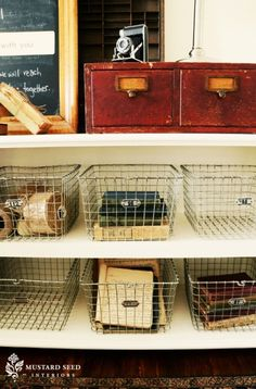 I love everything in this photo, especially the card catalog and vintage locker baskets.