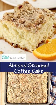 Almond Streusel Coffee Cake is the perfect excuse to have cake for breakfast, is it not? This easy recipe is not overly sweet and the streusel adds the perfect amount of crunch to the light and fluffy cake. It's simple enough for any day of the week and delicious enough for any holiday or celebration. Add it to your weekend plans or next holiday brunch! Sheet Cake Recipes, Pound Cake Recipes, Easy Cake Recipes, Best Dessert Recipes, Yummy Recipes, Most Delicious Recipe, Delicious Breakfast Recipes, Delicious Desserts, Crumb Coffee Cakes