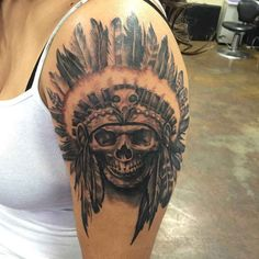 Skull with feathers on the shoulder  - http://tattootodesign.com/skull-with-feathers-on-the-shoulder/  |  #Tattoo, #Tattooed, #Tattoos