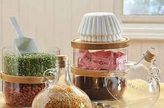 Handmade colonial kitchen cannisters are a great addition to your home. Kitchen Containers, Kitchen Canisters, Glass Jug, Glass Bottles, Cut Bottles, Cut Glass, Crafts To Do, Home Crafts, Magnetic Spice Tins