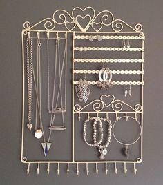 Large Jewellery Wall Hanger Holder Stand Cream Metal Necklace Earrings Bracelet in Jewellery & Watches, Jewellery Boxes & Supplies, Jewellery Display | eBay