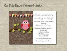 Owl Baby Shower Printable Invitation