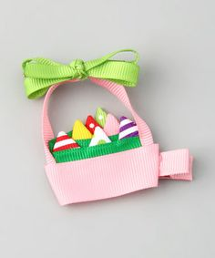 Take a look at this Bubbly Bows Pink Easter Basket Clip by Bubbly Bows on #zulily today!