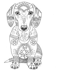 Art Of Dachshund Single Coloring Page By ArtByEddy On Etsy