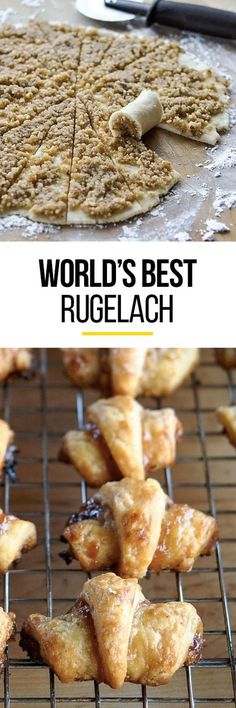 How To Make the BEST Rugelach Cookies. You can fill them with anything from ground nuts and honey to peanut butter and chocolate. Honey, cinnamon and walnut is a classic filling - as is raspberry jam. This belongs on your recipes to make list! Cookie Desserts, Just Desserts, Cookie Recipes, Delicious Desserts, Dessert Recipes, Yummy Food, Cookie Favors, Cookie Cups, Italian Desserts