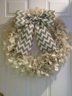 Burlap Rag Wreath with Chevron Bow by Delightfully Quaint on Etsy