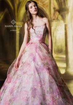 HARDY AMIES pink dress wedding ハーディエイミス ドレス テージーピンク  clc0180-2.jpg (494×707)
