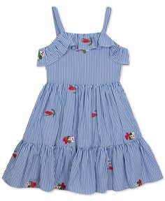 Floral embroidery adds extra sweetness to this darling striped dress from Rare Editions, featuring ruffle trim at the bodice and hem. Baby Girl Frocks, Frocks For Girls, Toddler Girl Dresses, Little Girl Dresses, Girls Dresses, Toddler Girls, Girls 4, Frock Design, Baby Dress Design