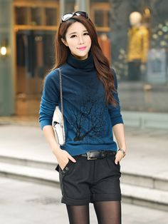 Cashmere Turtleneck Branch Pattern Gradient Color Sweater