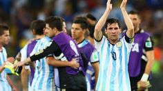 Lionel Messi of Argentina acknowledges the fans