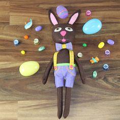 Handmade Felt Plush Brown Easter Bunny Boy Plush Doll