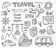 Doodle Drawings, Doodle Art, Doodle Images, Travel Doodles, Travel Clipart, Summer Clipart, Sketch Notes, Travel Scrapbook, Scrapbook Quotes