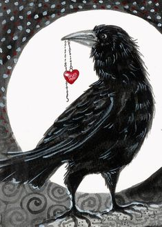 Crow Raven You Stole My Heart love Valentines aceo Limited Edition print