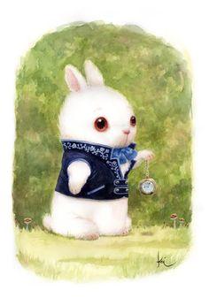 "*WHITE RABBIT ~ Children's book - ""Alice in Wonderland"" by Bobby Chiu and Kei Acedera"