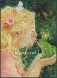 The Frog Prince ACEO ,Fantasy and Portraiture art by Katerina Art,The beautiful pencil art by Katerina Koukiotis
