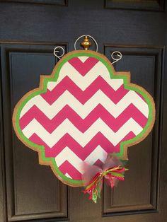 monogram chevron burlap door hanger by carynnscreations on Etsy, $35.00