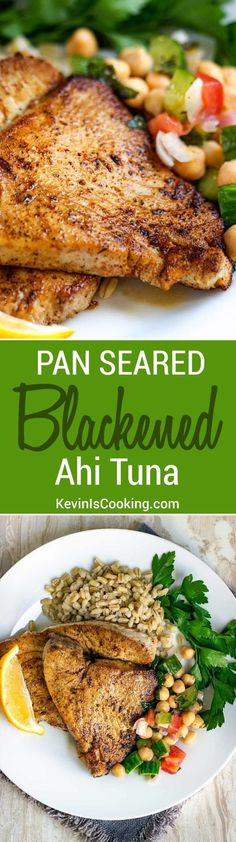 Superb This Pan Seared Blackened Ahi Tuna is a family go to for a quick and healthy dinner. Just the right amount of spice and heat, too! The post This Pan Seared Blackened Ahi Tuna is a fam . Seafood Menu, Seafood Dishes, Seafood Recipes, Paleo Recipes, Healthy Dinner Recipes, Cooking Recipes, Ahi Recipes, Healthy Meals, Fish Recipes