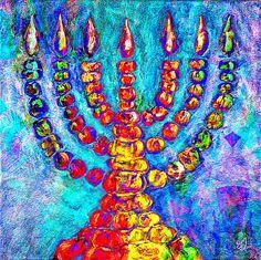 Title  Temple Menorah  Artist  Music of the Heart  Medium  Painting - Mixed Media