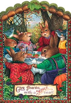 Susan Wheeler Holly Pond Hill Happy Thanksgiving Give Thanks Bunny Greeting Card Susan Wheeler, Beatrix Potter, Les Moomins, Somebunny Loves You, Thanksgiving Greeting Cards, Happy Thanksgiving, Bunny Painting, Rabbit Art, Bunny Art