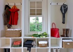 mudroom- I like the idea of the cubbies under a window bench so each family member has their own space to put their shoes, hats, gloves, etc.