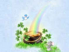 Rainbow, pot of gold, St. Patrick's day wallpaper