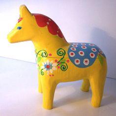 Yellow painted Dala Horse