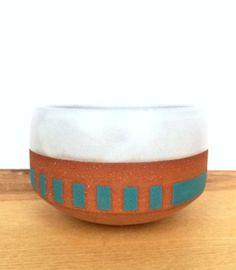 Boldy Striped Chawan in Pure White & Blue