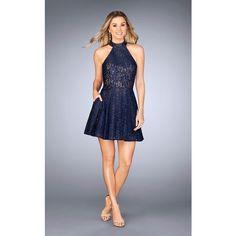 La Femme 25099 Cocktail Dress Mini Halter Sleeveless ($278) ❤ liked on Polyvore featuring dresses, cocktail dresses, navy, navy blue dress, short lace dress, lace halter top, lace mini dress and short homecoming dresses