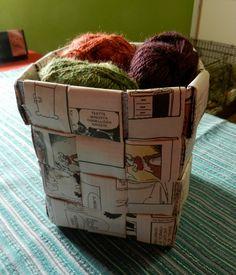 punos-sidos-silmukka: Tätä et voi tehdä verkkolehdellä  A basket how-to with illustration
