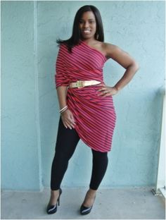 Maxi skirt worn as a one shoulder tunic curves-and-confidence-outfits