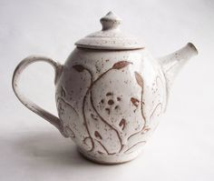 White Stoneware Teapot with Vines and Flowers, Raspberry Interior - Holds 4 Cups.