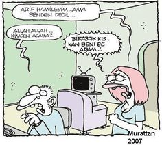 - Arif hamileyim... Ama senden değil... + Allah Allah... Kimden acaba?.. - Birazcık kıskan beni be adam!..  #karikatür #mizah #matrak #komik #espri