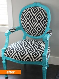 """""""Before & After: This Granny Chair Gets Graphic"""" -- I WANT TO DO THIS!! Must find 6-8 mismatched, upholstered vintage chairs! -- from apartmenttherapy.com"""