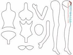 Pattern for fashion doll -- Mimin Dolls: Moldes dolls coreanas Fabric Doll Pattern, Doll Sewing Patterns, Sewing Dolls, Doll Clothes Patterns, Fabric Dolls, Paper Dolls, Dolls Dolls, Doll Crafts, Diy Doll