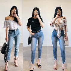 Girls in High Waisted Jeans High Wasted Jeans, High Waisted Mom Jeans, High Jeans, Outfit Jeans, Jean Outfits, Casual Outfits, Skinny Jeans, Model, Pants