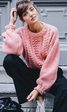 Pink Sweater Outfit Idea pin on fash Pink Sweater Outfit. Here is Pink Sweater Outfit Idea for you. Pink Sweater Outfit how to wear outfits with asos pink sweaters chicisimo. Mode Outfits, Casual Outfits, Fashion Outfits, Ladies Fashion, Sneakers Fashion, Looks Street Style, Looks Style, Rosa Pullover Outfit, Pink Sweater Outfit