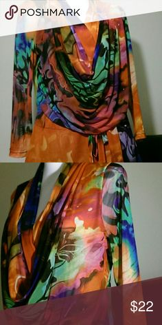 Multi-Colored Cowl Neck Sheer Long Sleeve w/Belt EUC Small Snap at Base of V Neck  Brilliant Rainbow Water Colors Swirled w/Black Juliette Tops Blouses
