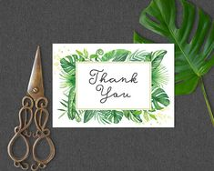 Printable Thank You Card Coordinates with Tropical Bridal