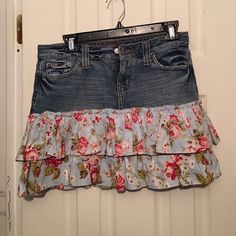 Layered jean skirt Cute jean skirt with floral print ruffles layering the bottom portion Hippie Skirts Mini